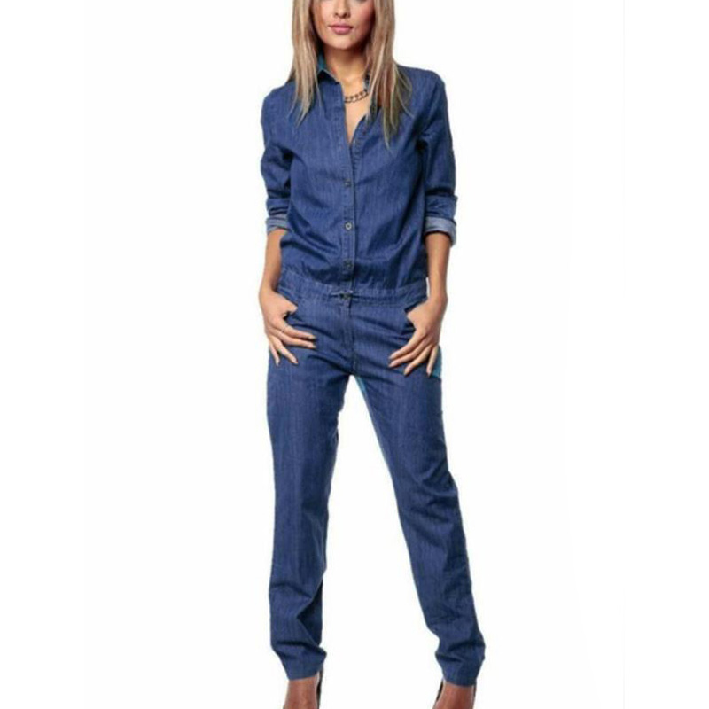 Sexy Women Jumpsuit Jeans Denim Overalls Autumn Winter Ladies Long Sleeve Lapel Button Lace-Up Mid Waist Slim Fit Casual Romper