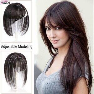 Image 1 - BUQI короткие человеческие волосы, настоящие человеческие волосы, 3D челка на клипсе, 100% натуральный цвет, человеческие волосы для женщин, прямые черные волосы