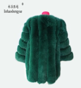 Image 5 - Linhaoshengyue Length70CM genuine fox fur coat,Natural fur coat, real fox fur coat,winter women