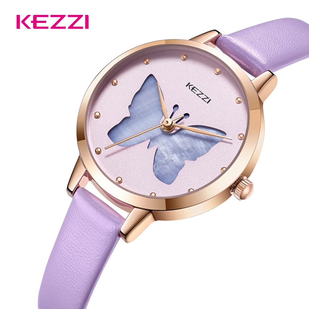 Kezzi Brand New Simple Leather Watches For Women Small Shell Butterfly Dial Watch Ladies Girl Romantic Purple Watch Waterproof