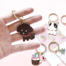 1 Pc Cute Animal Keychain Dog Black Cat Bear Fox Key Chain Bulldog Puppy Keyring Accessories Pet Jewelry(China)