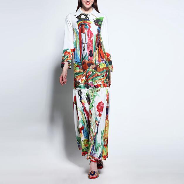 Haute qualité nouvelle mode piste col rabattu Maxi robe femmes à manches longues rétro Art imprimé Designer longue robe