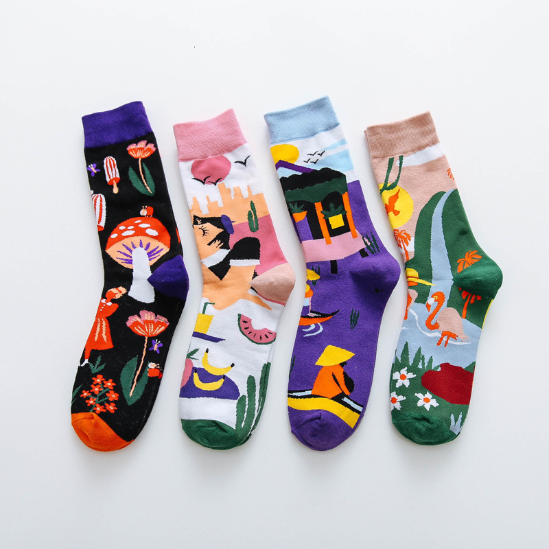 Fashion Men Cotton Socks Abstract Plant Natural Pattern Creative Harajuku Funny Korean Style Cute Crew Casual Street Art Socks