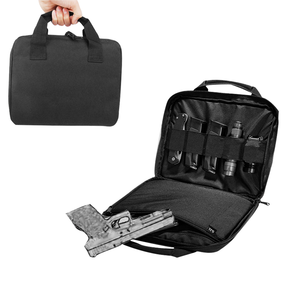 """12"""" Tactical Pistol Carry Bag Gun Case With Magazine Pouch Portable Military Handgun Holster Durable Padded Pistol Carrier"""