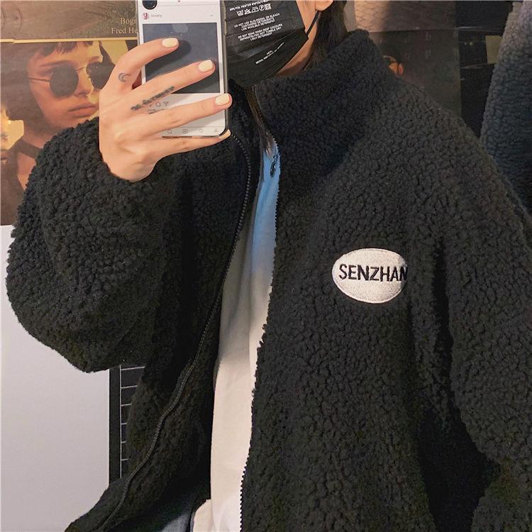 Hba56c7a6c3e3498f8fed9e612f07043ce 2020 Faux lamb wool coat winter clothes women zipper sweatshirt all-match thinner stand collar cardigan harajuku hoodie women