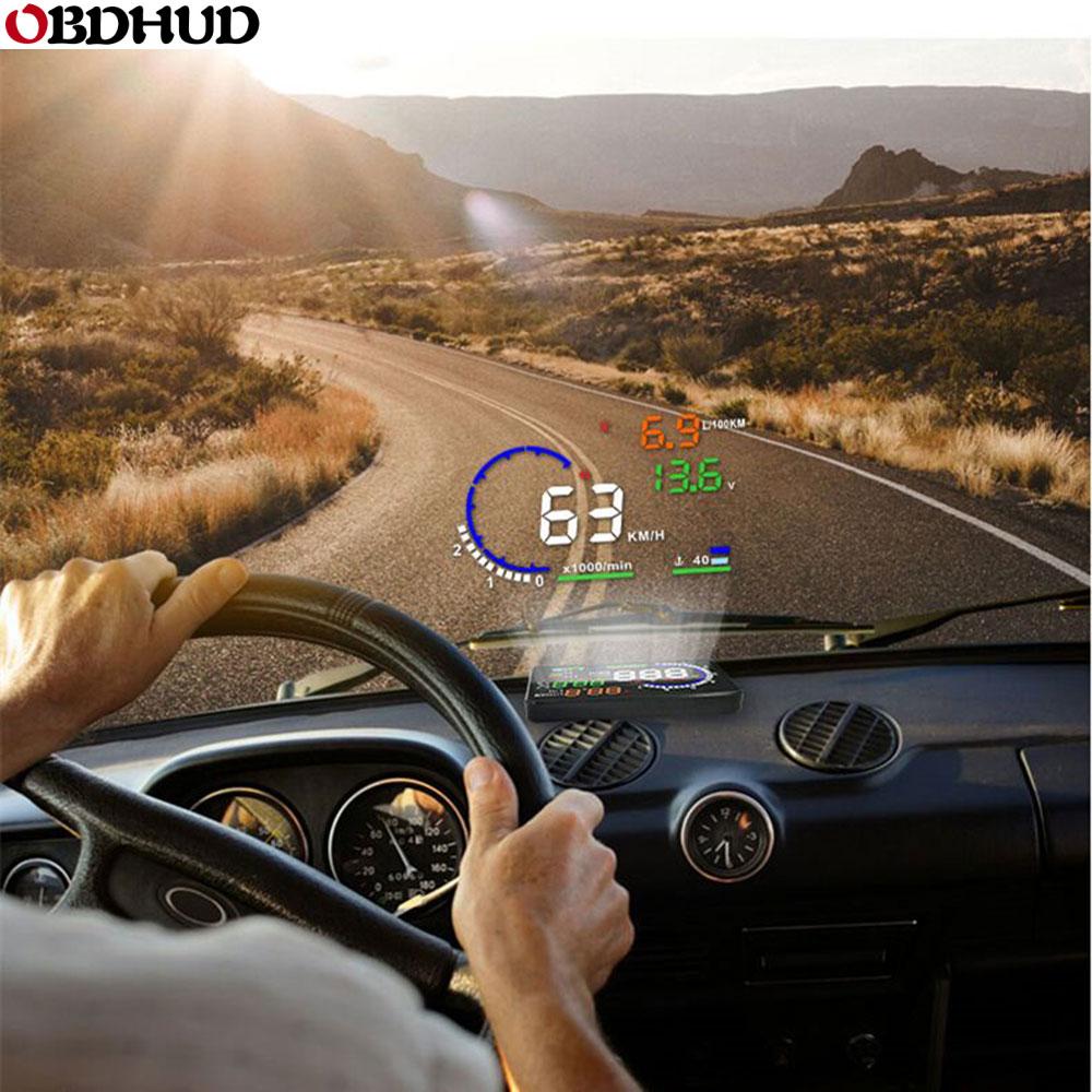 """2018 nouveau 4 """"voiture HUD GPS affichage tête haute compteurs de vitesse moniteur davertissement de survitesse pour Q5 nouveau allume cigareAffichage tête haute   -"""