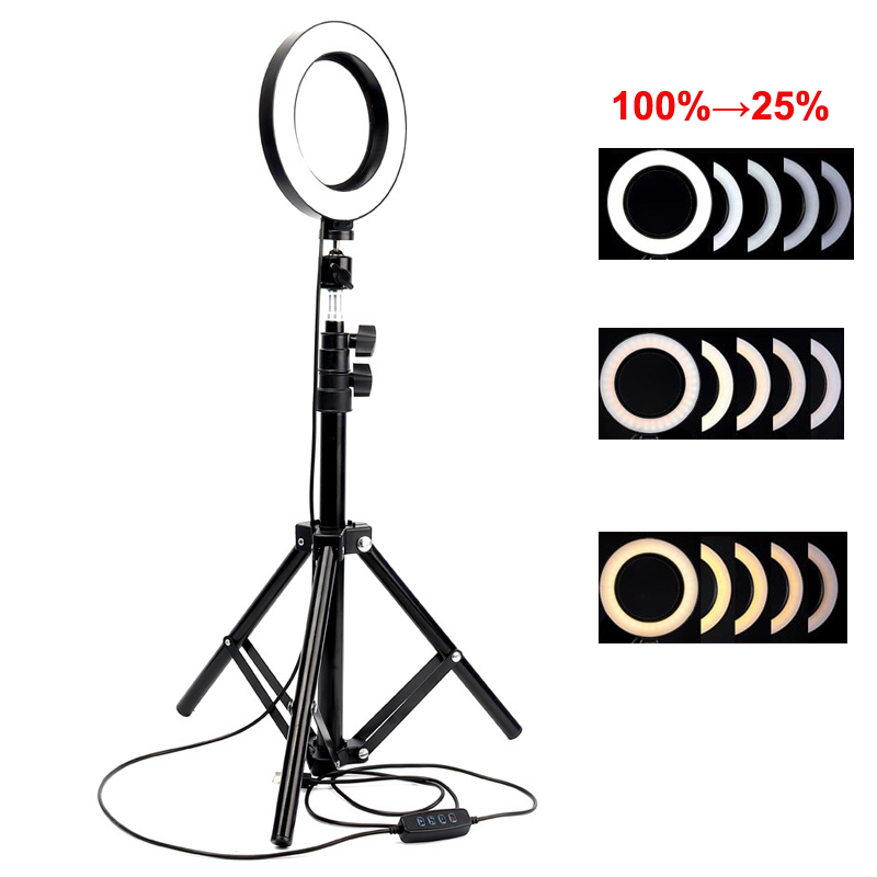 6inch Photography LED Selfie Ring Light With Tripod Stand USB Plug For Makeup YouTube TikTok Live Photo Photography Ring Lamp