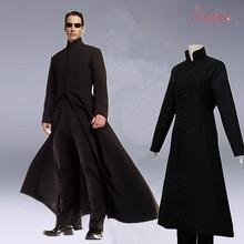 Черный костюм для костюмированной вечеринки Matrix, плащ Neo, только пальто, костюм для костюмированной вечеринки на Хэллоуин, бесплатная доста...