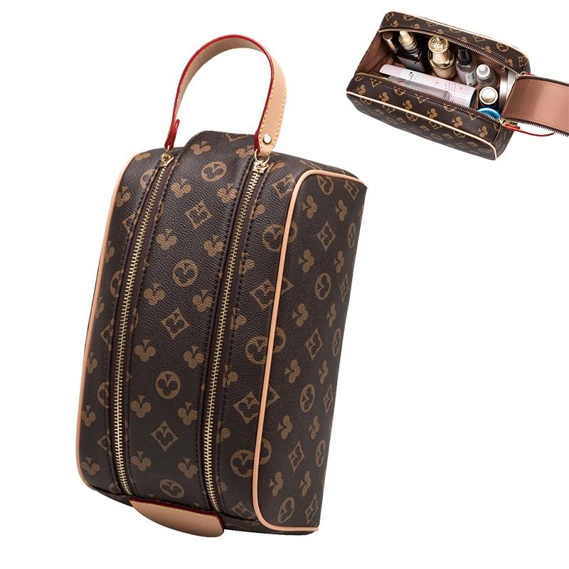 Waterproof Toiletry Bags PU Leather Travel Cosmetic Bagpack Organizer Women Men Makeup Bag Portable Make Up Case Beauty Handbags