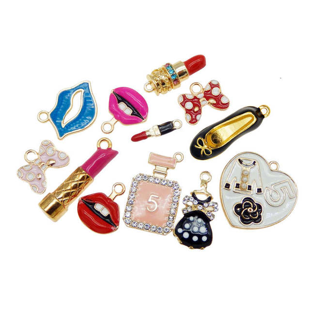 Julie Wang 12PCS Enamel Charms Alloy Mixed Girl Lipstick Lip Dress Shoes Necklace Pendant Bracelet Accessory Jewelry Making 1