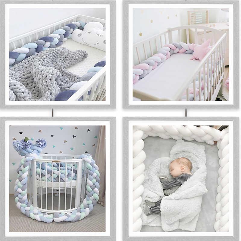 1M/2M/3M Baby Bed Bumper 4 Braids Baby Bed Decor Pure Weaving Plush Newborn Knot Crib Bumper Protector Infant Room Decor