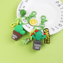 2020 New 3D Simulation Cactus Potted Keychain Creative Plant key Chains Girls Gift Key Ring Women Bag Pendant Key Chains Wholesa creative simulation lobster key chains pendant popular key ring ornament cute gifts ls1908052