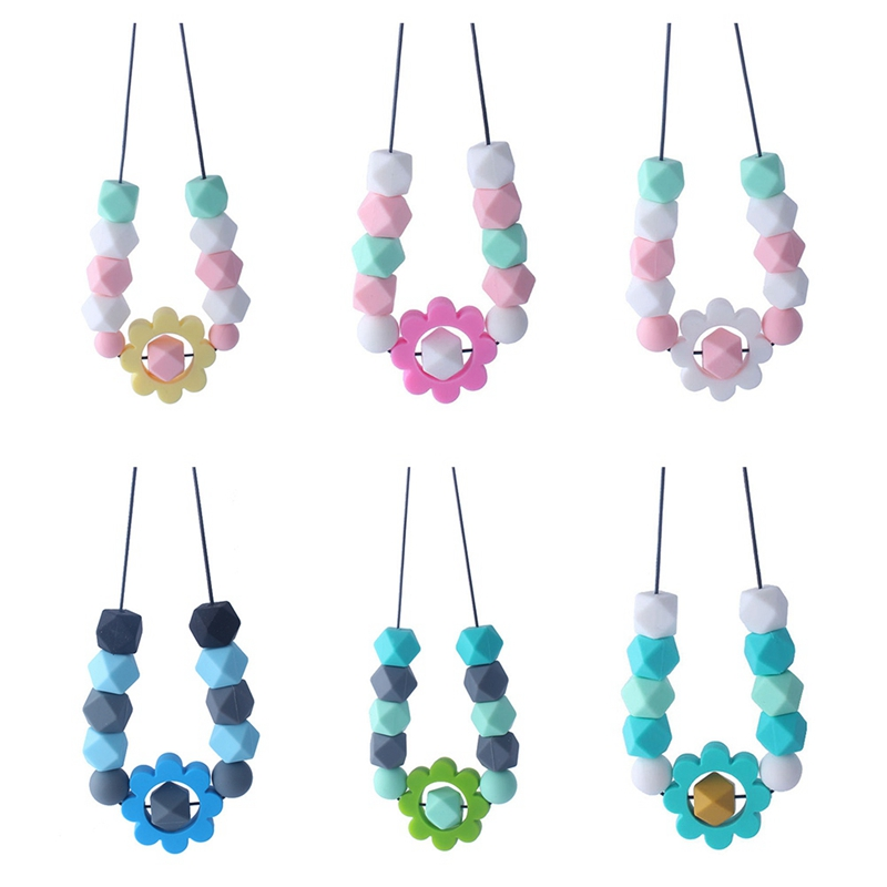 BPA Free Silicone Molar Teether Baby Teething Necklace Infant Baby Nursing Breastfeeding Necklace Toy Flower Chewable Jewelry