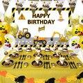 60 шт./компл. строительные грузовики инженерных машин вечерние набор одноразовой посуды тарелка соломы День рождения вечерние аксессуары дл...