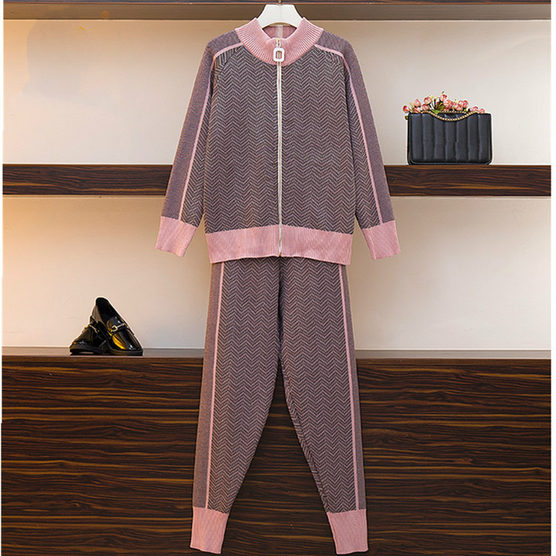Autumn New Women Geometric Knitting Tracksuit Zipper Cardigans Jacket+ Pants Female Winter Fashion Design 2pcs Sports Set