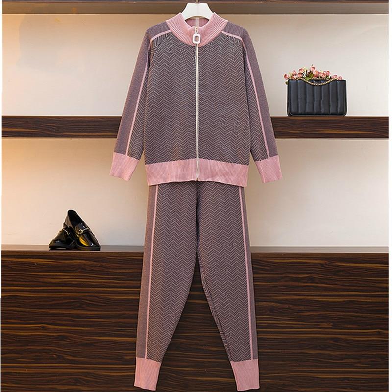 Autumn New Women Geometric Knitting Tracksuit Zipper Cardigans Jacket+ Pants Female Winter Fashion Design 2pcs Sports Set
