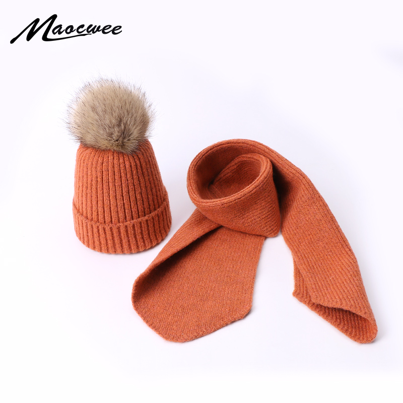 Kids Children Scarf Hat Set Beanies Cap PomPon Hats Fake Ball For Skullies Knitting Autumn And Winter Warm Solid Color Girl