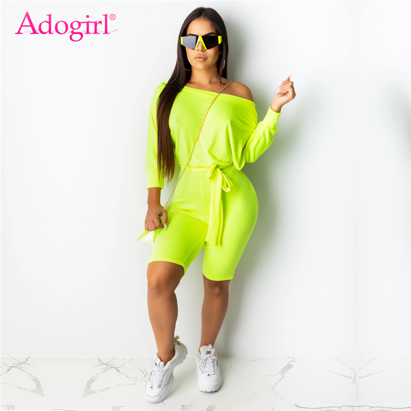 Adogirl Solid Fluorescent Casual Playsuit Slash Neck Off Shoulder Batwing Sleeve Shorts Jumpsuits With Sashes Women Sexy Rompers
