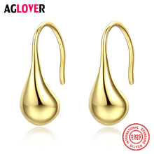 AGLOVER New 925 Sterling Silver Earrings Water Droplets 18kstud Earrings For Women Fashion Wedding Jewelry Lovers Best Gift