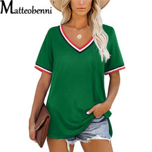 2021 Summer New Women V-Neck Short Sleeve Striped Patchwork Splicing T-Shirt Ladies Fashion Casual Loose Streetwear T-Shirt Tops