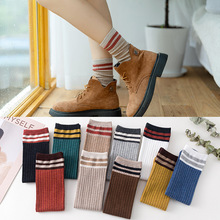 Autumn Winter Socks Japanese harajuku Soft Cotton Women Striped skarpetki damskie Vintage Boots Warm socks