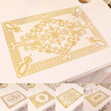 Creative Golden Place Table Mats Pad Home Kitchen Supplies PVC Placemat Wedding Party Decorative Lacework Table Cloth Mat(China)