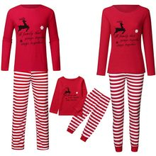 Family Christmas Pajamas Set 2pcs Long Sleeve Elk Top Stripes Pants Sleepwear Set Christmas Pajamas Family Matching Clothes Xmas(China)