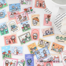 40pcs Cute PET Sticker Ticket Stamp Cartoon Sticker Flakes Korea Stationary Kawaii Scrapbooking Decoration for Cards Gift Girl
