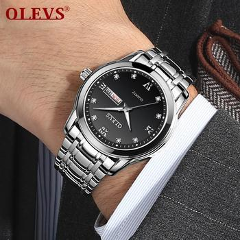 OLEVS Top Brand Men Quartz Waterproof Watch Classic Men Business Stainless Steel Strap Watches Date Clock 1