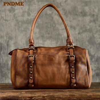 PNDME fashion casual luxury genuine leather mens handbag vintage designer handmade high-quality soft real cowhide shoulder bag