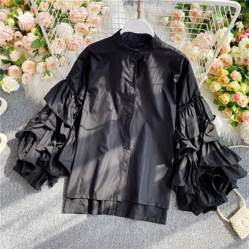 Gagarich Women Blouse Elegant 2020 Vintage Top Female Design Sense European Layer Trumpet Sleeve Long Sleeve Wild Shirt 10