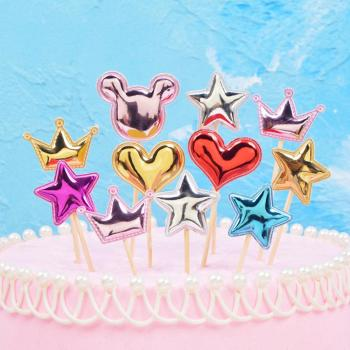 5pcs Lovely Heart Star Crown Cake Topper For Birthday Dessert Cupcake Flag Baby Shower Party Wedding Decoration Supplies image