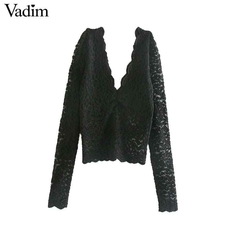 Vadim sexy dentelle haut court col en V profond transparent à manches longues blouse courte extensible blanc noir voir à travers la chemise blusas LB601