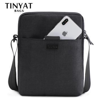 TINYAT Men's Bags Light Canvas Shoulder Bag For 7.9' Ipad Casual Crossbody Bags Waterproof Business Shoulder bag for men 0.13kg
