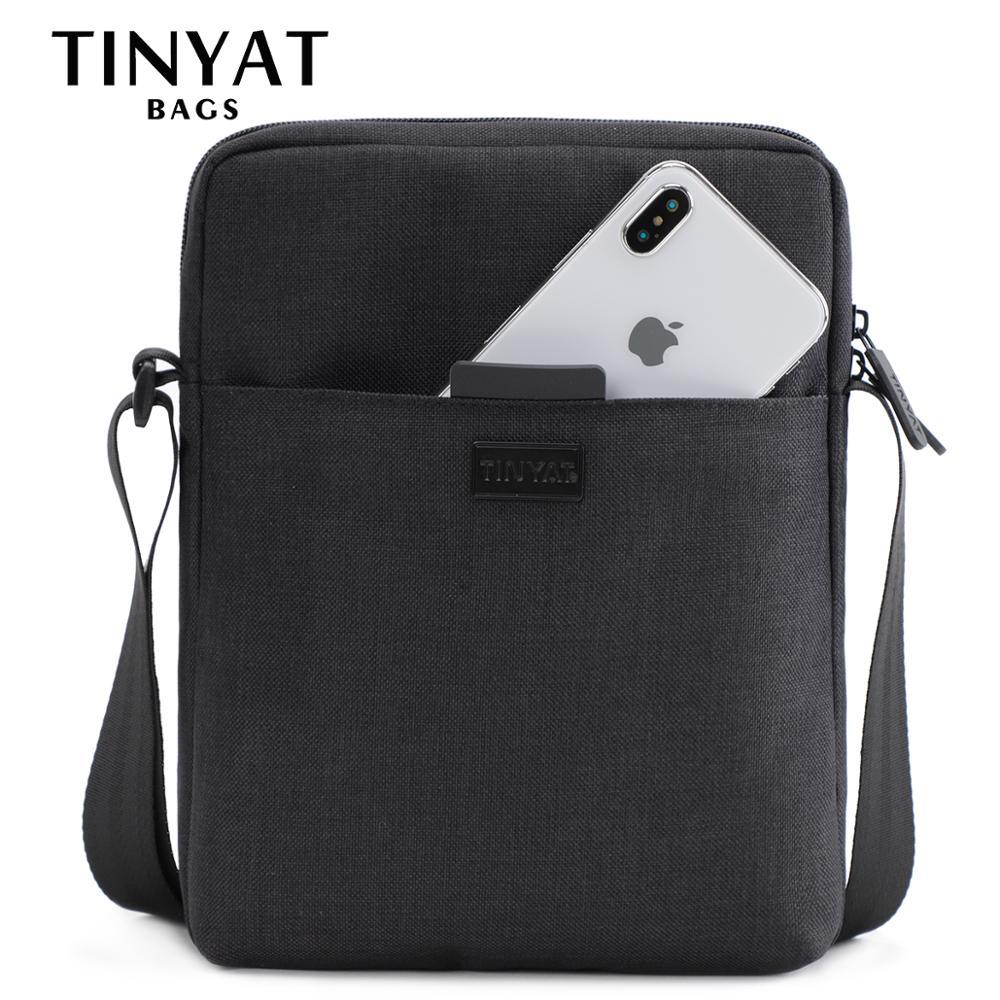 TINYAT Men's Bags Light Canvas Shoulder Bag For 7.9' Ipad Casual Crossbody Bags Waterproof Business Shoulder bag for men 0.13kg(China)