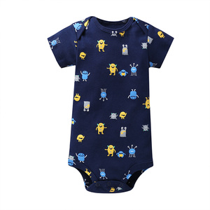Image 4 - cartoon monster baby bodysuit newborn boy girl clothes new born short sleeve onesie cotton unsisex body clothing 2020 5PCS/SET