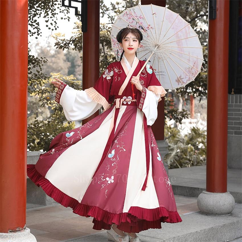 Hadas ancestrales chino traje Hanfu vestido 6 metros péndulo las mujeres del bordado Retro de la dinastía Ming Princesa, traje del Festival Folk