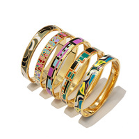 Hot selling high quality titanium steel imitation enamel painted drip oil cylinder narrow version bracelet for women