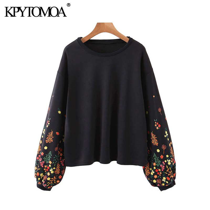 Vintage Stylish Floral Print Loose Sweatshirt Women 2020 Fashion O Neck Long Sleeve Female Pullovers Chic Tops