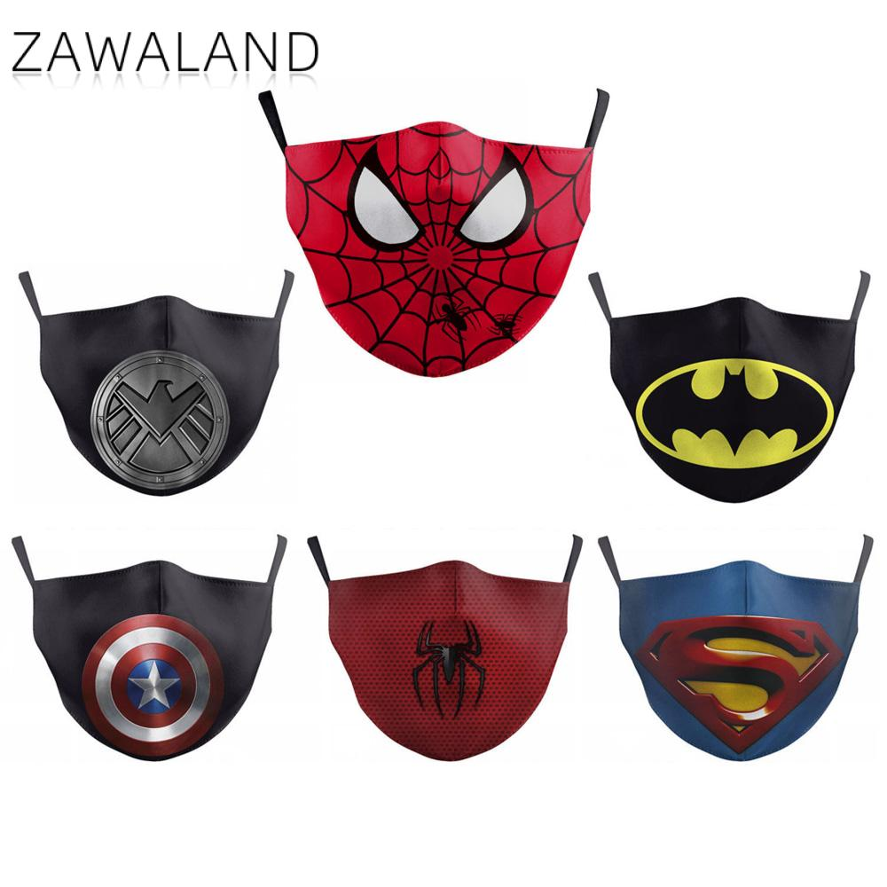 Zawaland Washable Mouth Mask Anti Dust PM2.5 Kids Face Mask Spiderman Anime Print Superhero Adult Protective Mask With 2 Filters