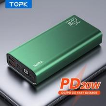 TOPK Power Bank 10000mah i 20000 mAh przenośna ładowarka LED zewnętrzna bateria PD 20W PowerBank 10000 20000 mAh dla iPhone 12 Xiaomi