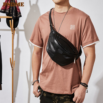 PNDME casual simple natural soft genuine leather mens black chest bag fashion cowhide ladies waist pack riding crossbody bags