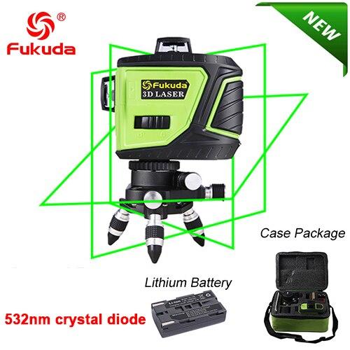 Фукуда бренд 12 линии 3D MW-93T-3G лазерный уровень наливные 360 горизонтальный и вертикальный крест супер мощный зеленый лазер луч линии - Цвет: 3GJ 532nm green