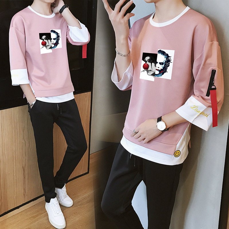 New Style Men's Sports Casual Baseball Set Spring And Autumn Korean-style Fashion Of Fresh Mock Two-Piece Hoodie Ankle Banded Pa