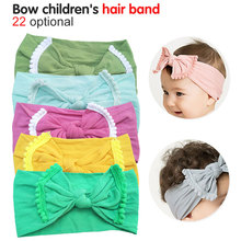 купить 1Pc New Sale 9 Colors Cute Baby Girls Kids Cotton Bow Hairband Headband Stretch Turban Knot Head Wrap онлайн
