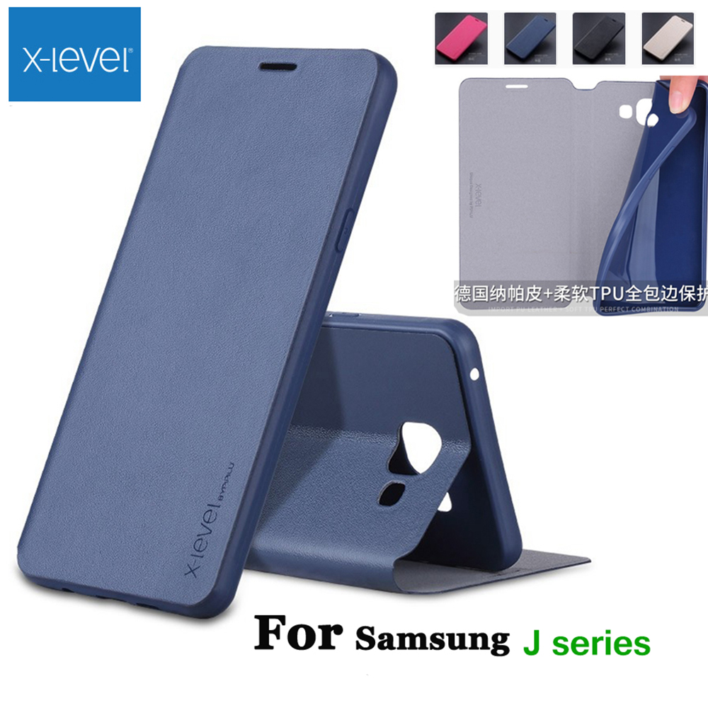 X-Level Luxury High Quality Classic Flip Leather Case For Samsung Galaxy J1 j2 j3 j4 j5 j6 j7 2015 2016 2017 2018