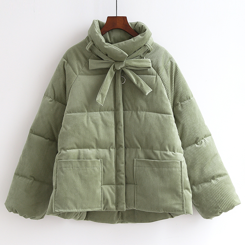 Parkas de pana espesantes para mujer moda Casual abrigo suelto amarillo verde con cremallera de algodón para mujer chaqueta de gran tamaño