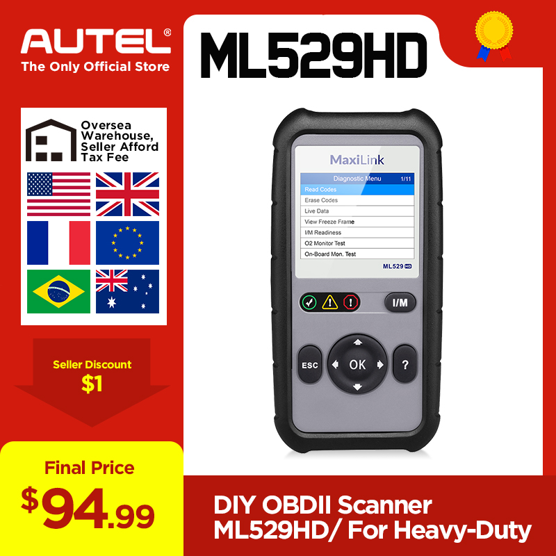 Autel MaxiLink ML529HD Scan Tool Enhanced Mode 6 OBD2 Auto Code Reader Heavy Duty Diagnostic Tool Utilizing SAE J1939 SAE J1708