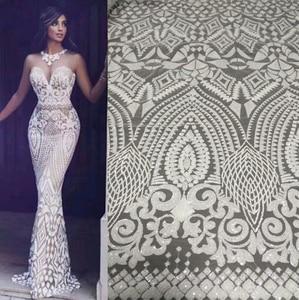 Image 3 - Biały kolor afryki koronki tkaniny 2020 haftowane koronki nigeryjskie tkaniny wysokiej jakości francuski tiul koronki tkaniny z cekinami L9166