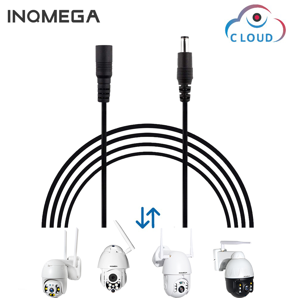 INQMEGA Black White 1.6M DC 12V Extension Cable 5.5mm*2.1mm Female Male Power Cord Wire For CCTV Camera Home Appliance